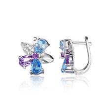 Damen 2.6ct  Himmel-Schweizer blauer Topaz Amethyst Bolzen Ohrringe Luxus