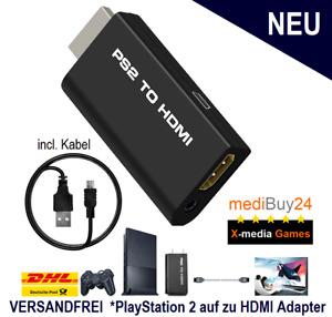 PS2 auf zu HDMI Converter 1080p HD TV Stick Adapter 3,5mm Kabel PlayStation 2 🎮