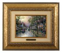 Thomas Kinkade Hometown Morning Framed Brushwork (Gold Frame)