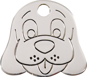 """Red Dingo Stainless Steel """"Dog Face"""" Pet Cat & Dog ID Tag- Free Engraving"""