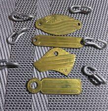 4 Vintage Brass Dog Tags, Return Dog, Return For Reward.