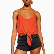 Topshop Womens Orange Front Knot Button Camisole New Size 4