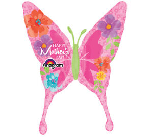"""37"""" Happy Mother's Day Butterfly Giant Balloon Helium"""
