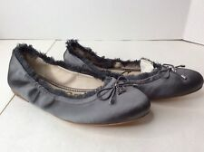 Sam Edelman Felicia Pewter Gray Silver Faux Fur Satin Ballet Flats Shoes SZ 6