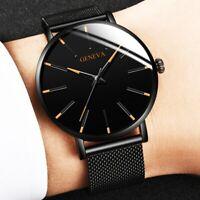 Herren Armbanduhr Edelstahl Analog Quarz Chronograph Uhr Datum Schwarz Blau