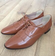 JCrew $228 Leather Oxfords with Fringe 10.5 Warm Sepia Brown Loafers f4979