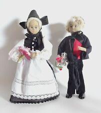 Vieja poco común novia par de tela yute muñecas Trachten ropa de bodas par
