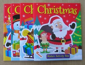 Children's kids Christmas sticker activity fun selection or 4 book carry pack