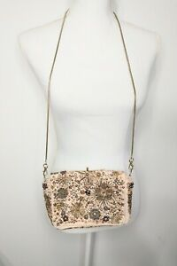 Free People Starlight Sequin Beaded Suede Crossbody Purse - Pale Pink