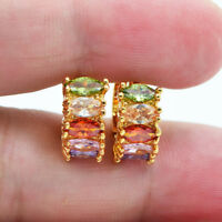 18K Yellow Gold Filled Mystical Rainbow Topaz Zircon Women Hoop Earrings Party