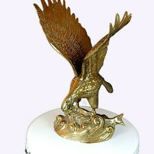 """Vintage Large 12"""" Solid Brass Eagle in Flight Catching Salmon Statue Figurine"""