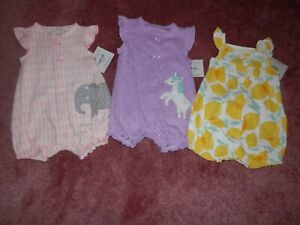 Lot Baby Girl Rompers One Piece Size 0 3 Months NEW NWT Carters