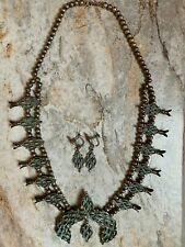 Vintage Zuni Sterling Silver Turquoise Squash Blossom Necklace/Earrings
