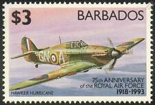 HAWKER HURRICANE / RAF 75th Anniversary Aircraft Stamp (1993 Barbados)