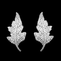 Solid 925 Sterling Silver Paved CZ Curvy Maple Leaf Fall Stud Post Drop Earrings