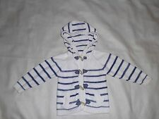 BHS White and Navy Striped Cotton Knit Hooded Jacket Age 12-18 Months