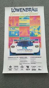 IMSA Lowenbrau Grand Prix of Miami 1986 Poster Porsche Corvette Ferrari GTP MINT