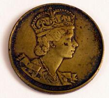 1953 CORONATION OF HER MAJESTY QUEEN ELIZABETH II BRONZE BRASS TOKEN RARE !!