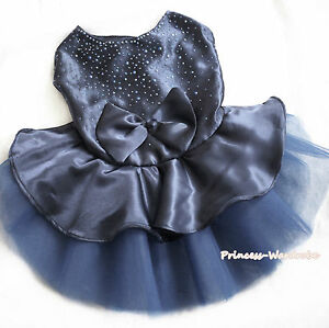 Dark Blue Sparkle Satin Dress Bow Gauze Skirt Sleeveless Pet Dog Cat Doggy