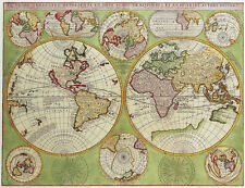 Double Hemisphere Vintage Polar Map 1690 A2+ High Quality Canvas Art Print