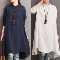 Womens Kaftan Cotton Linen Long Sleeve Loose Blouse Tops Shirt Baggy Pullover