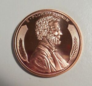 Abraham Lincoln copper bullion round 1 Avdp ounce .999 pure 39mm