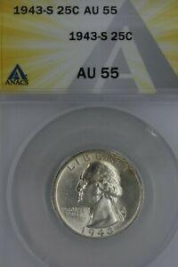 1943-S  .25  ANACS  AU 55  Washington Quarter, Silver 25 Cents (.25)