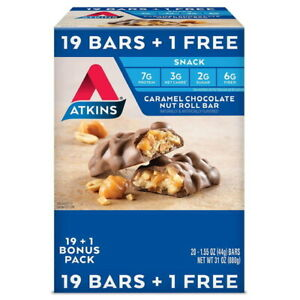 Atkins Snack Bar, Caramel Chocolate Nut Roll, Keto Friendly, 20 CT  Great Value!