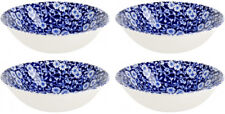 """BURLEIGH CALICO BLUE 4 x CEREAL BOWLS (6.5"""" / 16cm) NEW/UNUSED"""