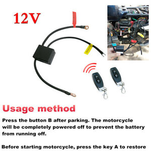 12V Wireless Motorcycle Battery Disconnect CutOff Master Kill Switch Dual Remote