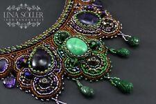"""Designer Collier """"1001 Nacht"""" mit Smaragd, Amethyst, Handarbeit!"""