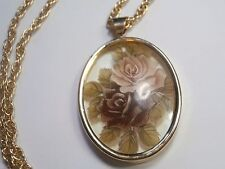 Victorian Rose deco pendant necklace reverse paint glass charm gold tone chain