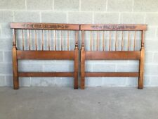 L. HITCHCOCK HARVEST MAPLE PAINT DECORATED TWIN HEADBOARDS - A PAIR