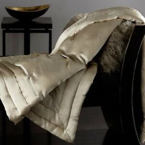 Donna Karan Home Collection Silk Quilted Throw $500 Buff