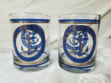 Vintage S.S. Norway 2 Old Fashioned Glasses Blue Gold Anchor Ocean Liner Rare