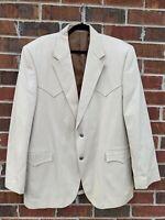 Circle S Dallas Texas Western Blazer Beige Cotton  Sport Coat 46L Suit Jacket