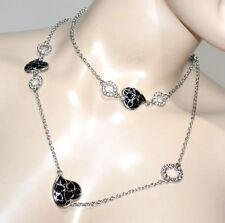 COLLAR largo mujer plata anillos strass corazones negros gargantilla ogrlica G21