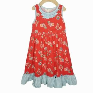 Matilda Jane SZ 6 You're A Firework Dress Red Floral Girls Sleeveless #2547