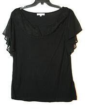 BLACK LADIES CASUAL TOP BLOUSE SIZE 16 PER UNA STRETCH V-NECK EMBROIDERED
