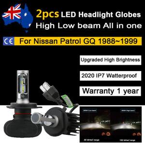 For Nissan Patrol GQ 1988-1999 Headlight Globes High Low Beam whtie LED Bulb kit