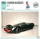 COOPER MASERATI MK 5 1964 CAR VOITURE Great Britain GRANDE BRETAGNE CARD FICHE
