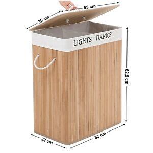 2 Compartments 100L Laundry Basket Bin Bamboo Dark/Light Hamper Clothe Linen Lid