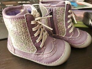 Stride Rite Baby Girl Purple Flower Zebra Shoes Size 4.M New w/o Box BG47338