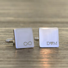 Personalised Silver Plated Initials Infinity Wedding Name & Date Cufflinks