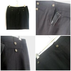 Lovers Plus sz 16 Black Jean Skirt Stretch Cotton Denim (HU)