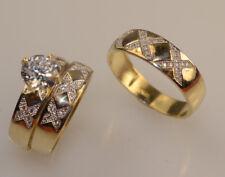 Men/ Ladies  Yellow Gold Trio Set Wedding And Engagement Rings Briadal set