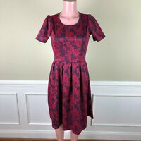 LULAROE Amelia Dress Blue Red Knit Pleats Blue Red Roses Floral Size M
