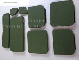 COMPLETE CANVAS SEAT CUSHION SET JEEP WILLYS MB GPW OLIVE GREEN W/CHECKS 1941-47