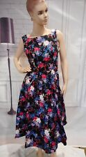 Hearts & Roses London Posie Floral Swing Dress Sz 6 US Pin-Up Rockabilly