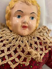 "Antique metal head doll Minerva 18"" good condition, appropriately dressed"